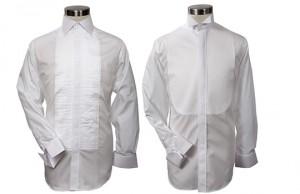 Deux chemises à plastrons, l'une à col classique et à plastron plissé, l'autre à col cassé et à plastron simple