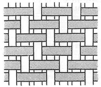 La trame se décale d'un fil de chaîne à chaque rang, ce qui explique les rayures obliques du twill.