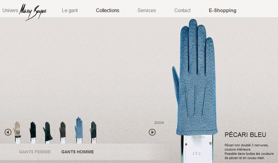 Des superbes gants Mary Beyer en pécari bleu